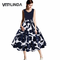 VESTLINDA Plus Size 4xl 5xl Vintage Dress Women Retro 50s Floral Print Summer Party Dress Elegant