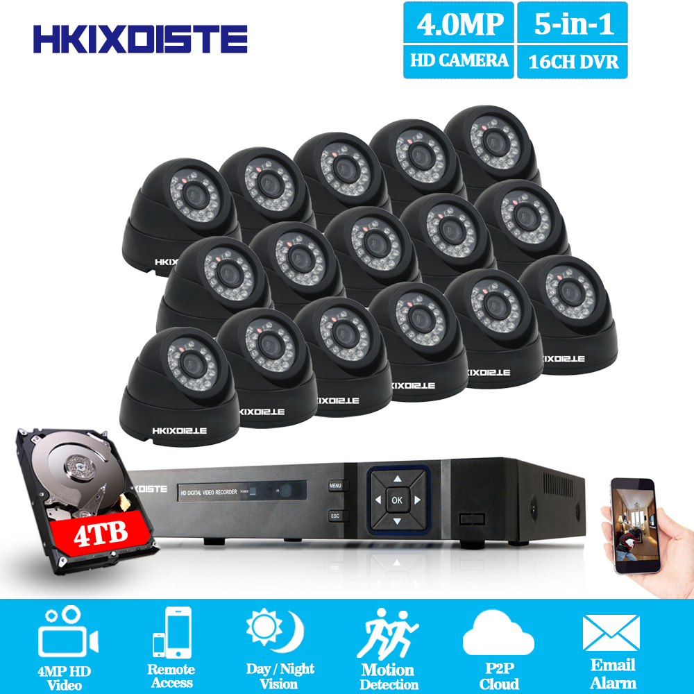 Home 16CH 4MP HD AHD DVR CCTV System With 16Pcs CCTV Camera 4MP 2560*1440 indoor Dome AHD 4K Security Surveillance Camera Kit home cctv surveillance system 16 channel dvr recording with 16pcs 700tvl dome security camera system cctv dvr kit 16ch ck 206