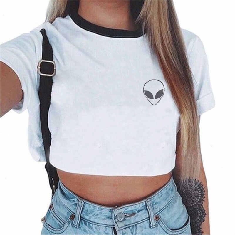 f83b34d04ab Women Korean Style Alien Printed T-Shirt Crop Tops Summer Round Neck Tees  Harajuku Fashion