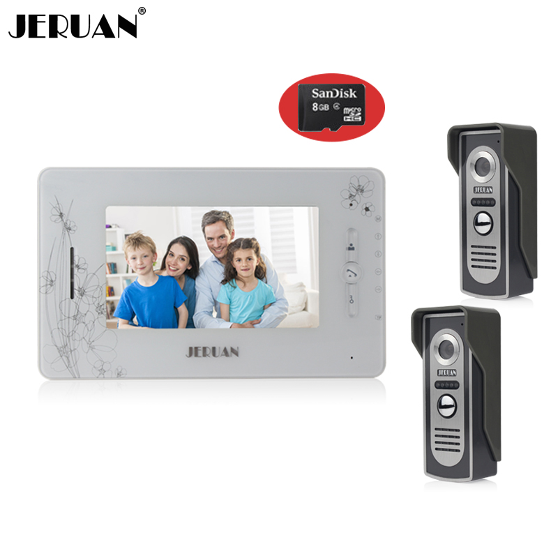 JERUAN 7`` video door phone intercom system video doorphone doorbell intercom recording photo taking 1 indoor 2 outdoor+8GB Card jeruan home security system 2 outdoor 1 indoor with recording photo taking 8 inch video door phone doorbell intercom system