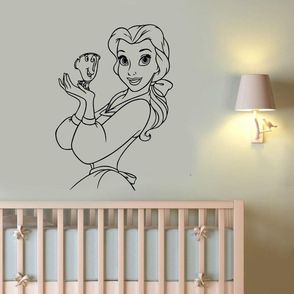 10 52 26 De Réduction Princesse Belle Sticker Mural Beauté Et La Bête Stickers Muraux Pour Enfants Chambres Vinyle Filles Chambre Bébé Fantaisie