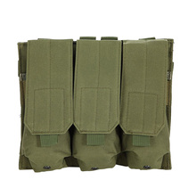 Hunting Outdoor Airsoft Molle Tactical Triple  M4 5.56mm Mag Magazine Pouch Handgun Shooting Vest Tool Dump Drop Bag