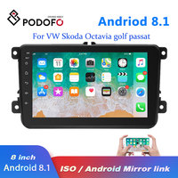 Podofo 2 din Car Radio 8 Android 8.1 Autoradio Multimedia Player GPS WIFI MP5 IOS Android Mirrorlink for Volkswagen Car Stereo