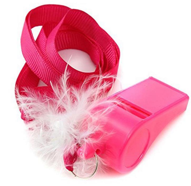 Розовый пушистый перо свисток дует весело свисток ожерелье девичник ночь вам аксессуар С ...