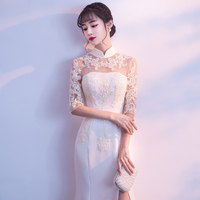 Spring New Champagne Vintage Women Lace Qipao Flower Sexy Lady Cheongsam Full Length Chinese Wedding Dress Gown Size S XXL