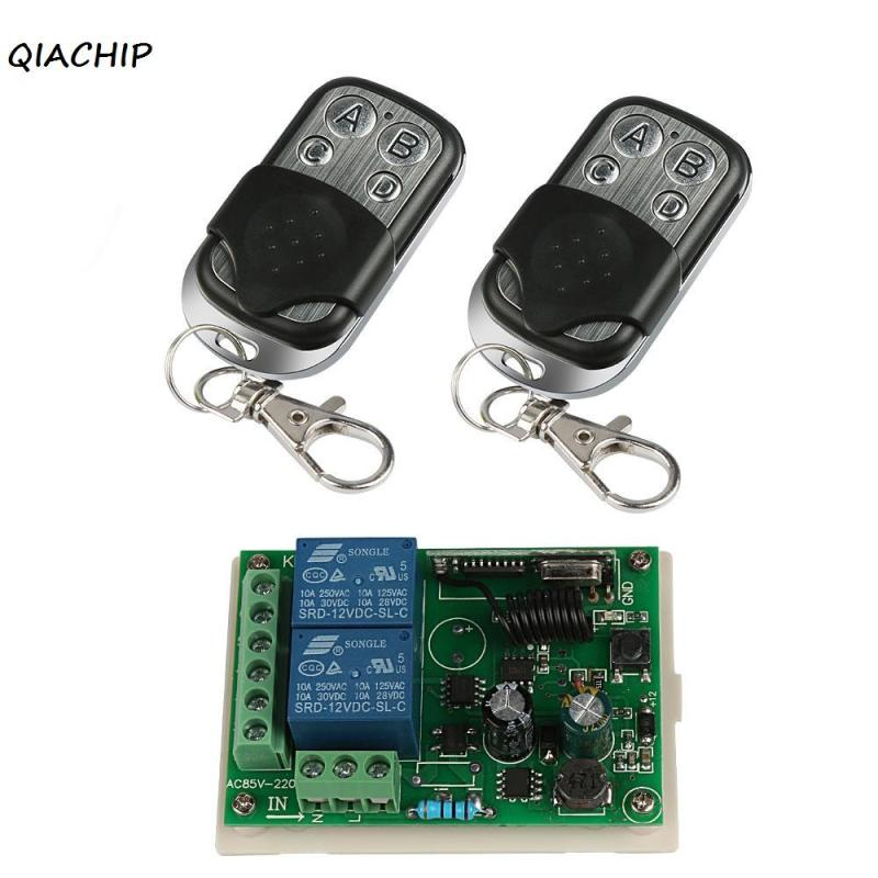цена на QIACHIP 433Mhz Wireless Remote Control Switch AC 85V~250V 110V 220V 1CH RF Relay Receiver Module and 2pcs 433 Mhz Transmitter Z3
