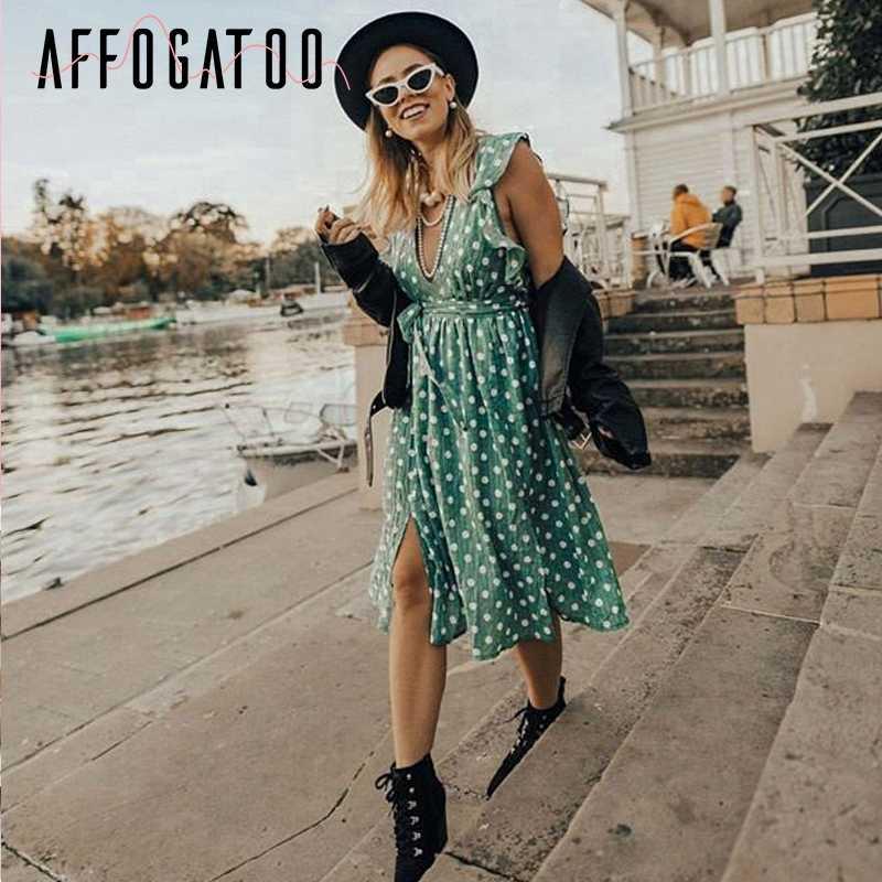 Afogatoo, летнее зеленое платье с глубоким v-образным вырезом в горошек, 2019, женское Короткое платье без рукавов с оборками, пояс, Пляжное сексуальное платье, femme vestido
