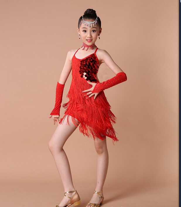 Free shipping 100-160cm rumba latin dance dress tango samba  tassels red rosy green competition professional girl child  costume