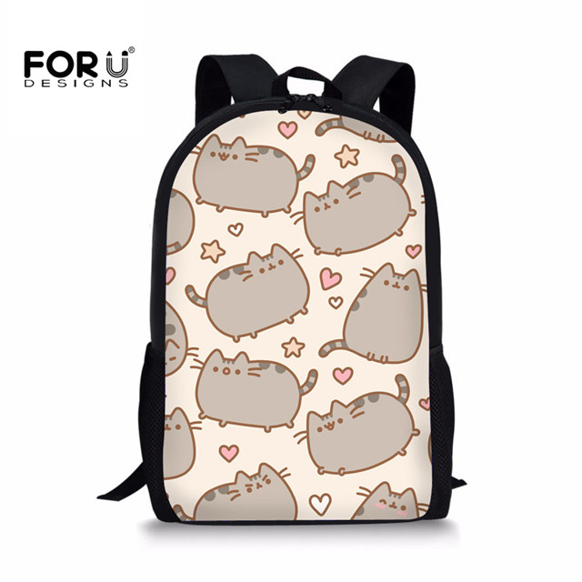 FORUDESIGNS Kawaii Pusheen Cat School Bags for Girls Kids Book Bag Cartoon Printed Teenagers Students Schoolbag 16 inch Backpack