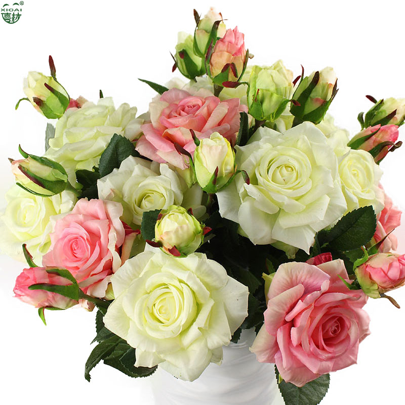 Echte Note Rose Sets Bouquet Latex beschichtet Seidenblume Home / Hochzeit / Marrige / Party Dekoration Blume dekorative künstliche Blumen