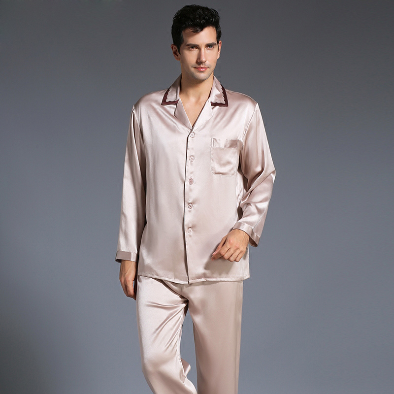 New Autumn Heavy Silk Men s Silk Long Sleeve Pajamas Set Silk Sleepwear Male Pajama Suit