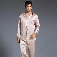 Новые осенние тяжелый шелк Для мужчин Шелковый с длинными рукавами пижамы набор шелк мужской пижамы Пижамный костюм Бесплатная доставка