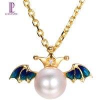 Lohaspie Z Litego 18 k Yellow Gold 8mm Naturalne Słodkowodne Pearl & Diamond & Niebieski Anioł Skrzydło Wisiorek Dla Kobiet Perła Biżuteria