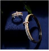 HTB15QArbrsrBKNjSZFpq6AXhFXac JaneKelly Gold-Color Luxury Sparking Brilliant Cubic Zircon Drop Earring Necklace Jewelry Sst Wedding Bridal jewelry sets