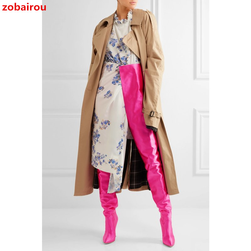 Hot Stylish Rihanna Extreme Long Waist High Boots Fluorescence Color Stretch Satin High Heels Pointed toe Stage Long Botas Shoes fluorescence yellow high visibility