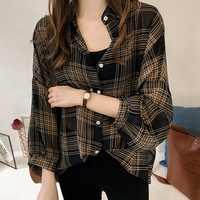 Batwing Sleeve Chiffon Blouses Chic Plaid Shirts Women Autumn Casual Chemise Femme Tops Tartan Blusas Mujer Plus Size