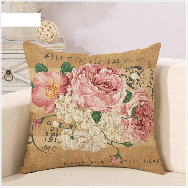 australia postcard ofpink peony retro cartoon pillow case cover massager decorative pillows vintage home decor elegant