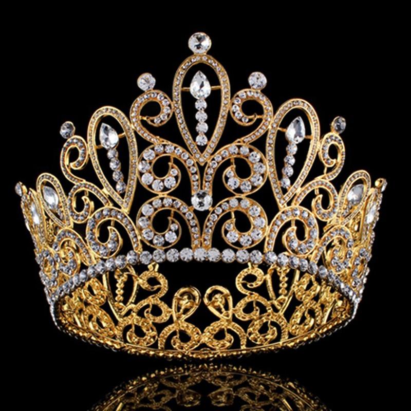 Gold Wedding Bridal Headband Big Queen Crown Tiara Formal Bridal Accessories Hot