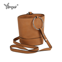 YBYT Brand 2018 New Mini Bucket Bag Women Casual Metal Handle Small Totes Female Shopping Pack