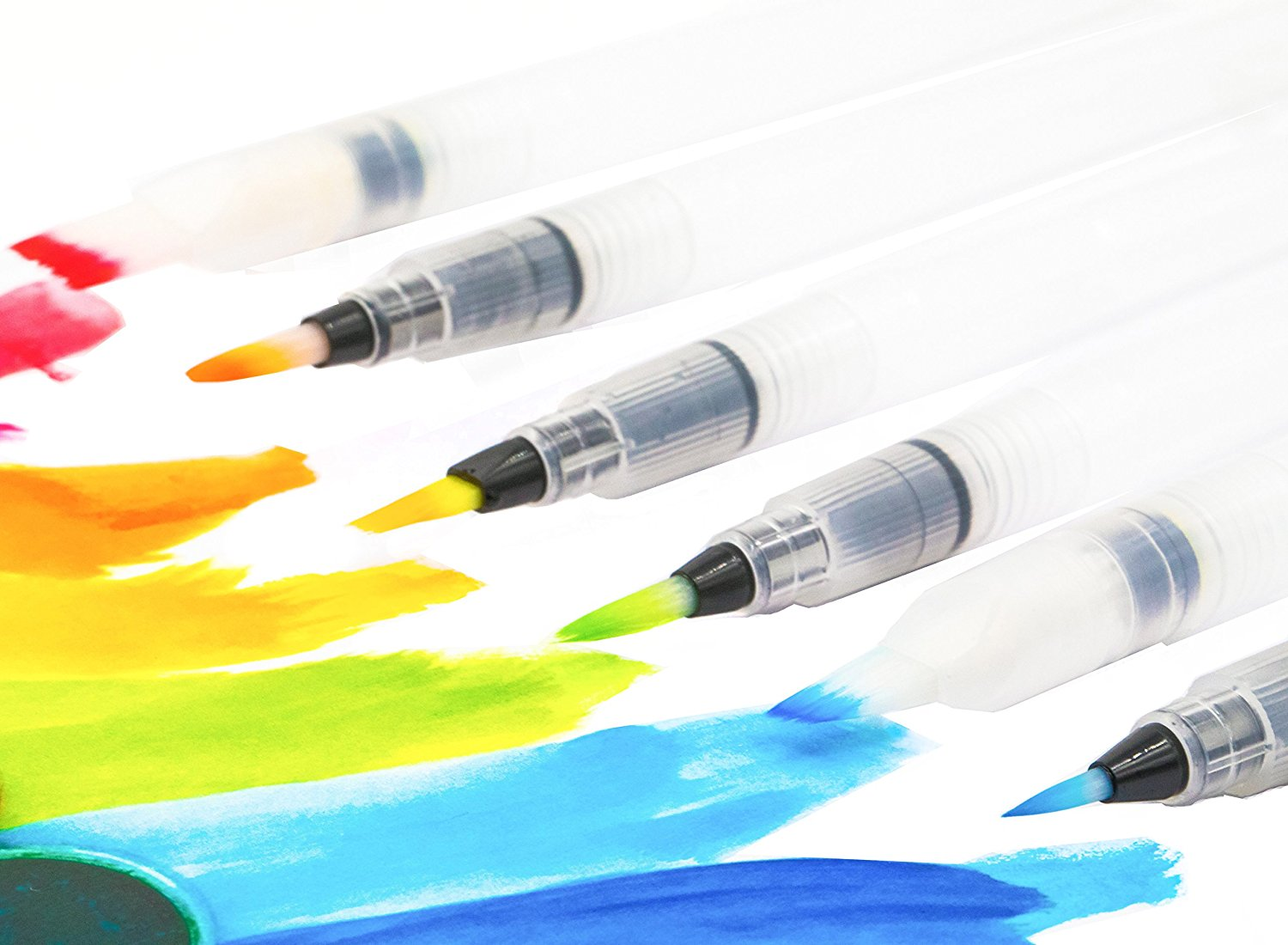 Water Coloring Brush Pens, Set Of 6 Aqua Pen Brush For Watercolor Painting, Water Soluble Pencils, Markers, Solid Colors