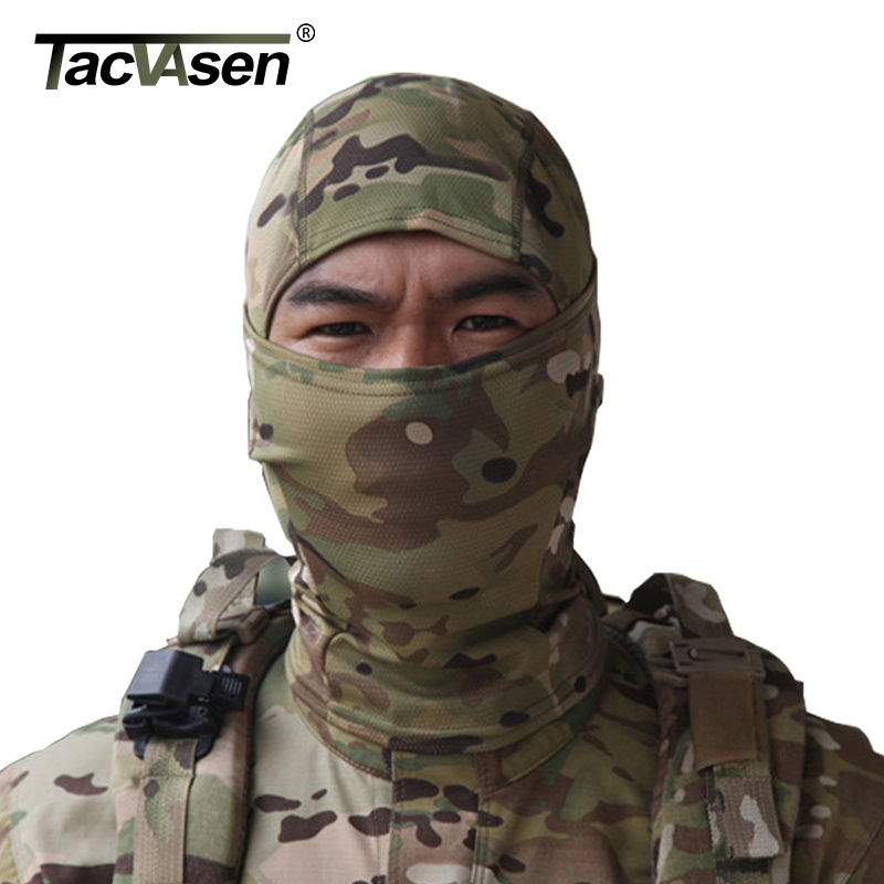 TACVASEN Tactical Quick Dry Hood  Mask Hunt Full Face Mask Paintball War Game Helmet Camouflage Military Face Mask TD-SZLM-004 ear protective terminator full face mask airsoft paintball mask halloween protective cs wargame field game cosplay movie prop
