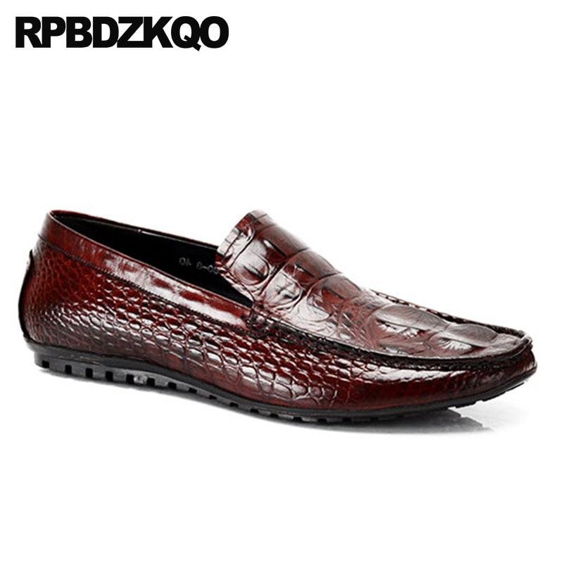 Mocassins Chaussures Bourgogne Noir De Parti Européenne Luxe Britannique D'été Style Marque Populaire Rouge Noir Alligator Crocodile vin Piste Hommes Conduite wPt7BqW