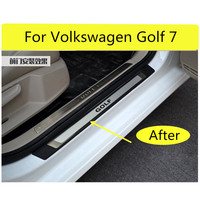 High quality stainless steel+ABS Scuff Plate/Door Sill Protector Sticker Car Styling For Volkswagen Golf 7