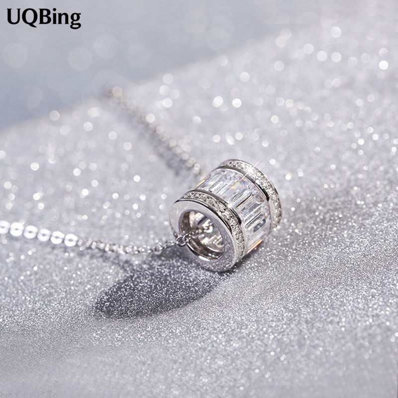 925 Sterling Silver Cylindrical Necklaces & Pendants Pure Sterling Silver Choker Necklace Jewelry Collar Colar De Plata
