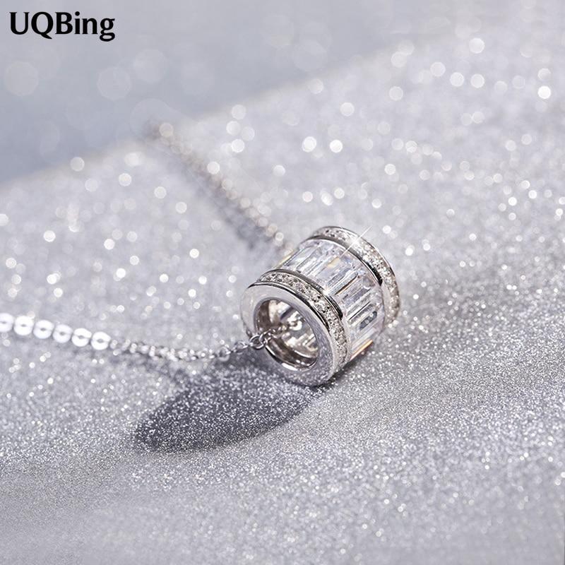 925 Sterling Silver Cylindrical Necklaces & Pendants Pure Sterling Silver Choker Necklace Jewelry Collar Colar De Plata