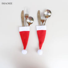 10Pcs/Lot 2018 Christmas Decorations For Home Hat Tableware Bags Cutlery Knifes Folks Bag Holder Pockets Xmas Party Supplies Cap(China)