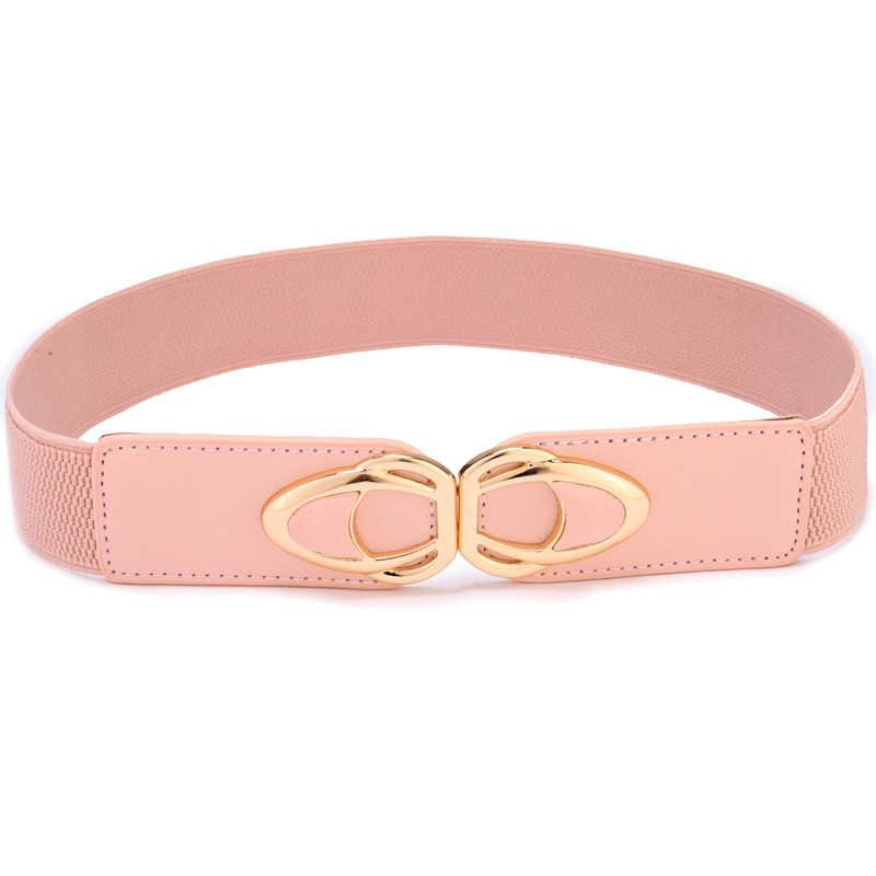 4125850648 Fashion Women Plus Size Belts Casual Stretchy Metal Buckle Waistband Elastic  Ladies Waist Belt Ceinture Women