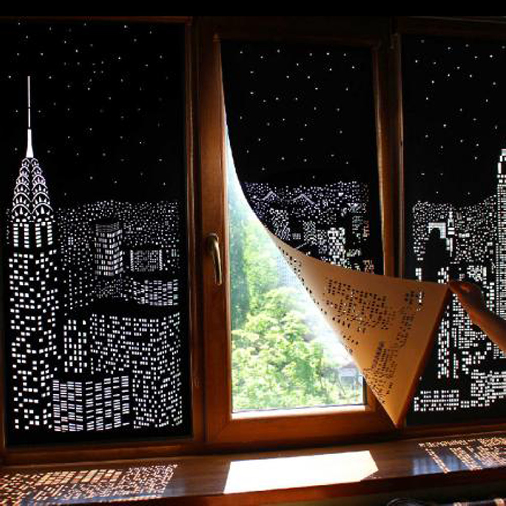 Modern Window Blinds Black City Night Light Designs Roller Curtains For Home Hotel Shade Children Living Room Curtains  New#40(China)