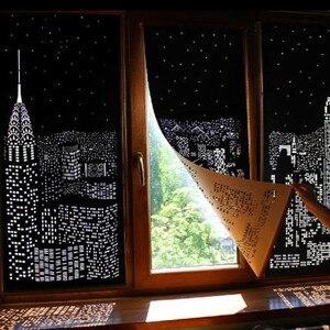 Nowoczesne rolety czarne miasto w nocy wzory świetlne zasłony rolkowe na domowy hotel odcień dzieci zasłony do salonu nowy #40