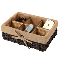 Sundries Organizer Seaweed Vintage Straw Basket Container Jewelry Wicker Rattan Weave Storage Box Cosmetics Remote Control