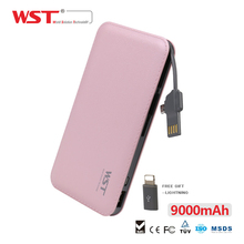 WST DP622A 9000mAh Power Bank Li-polymer Quick Charge External Battery Pack Built-in Cable Protable Battery Charger