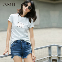 Amii Casual Women T Shirts 2017 Summer Stripe Print O Neck Short Sleeve Tees Tops