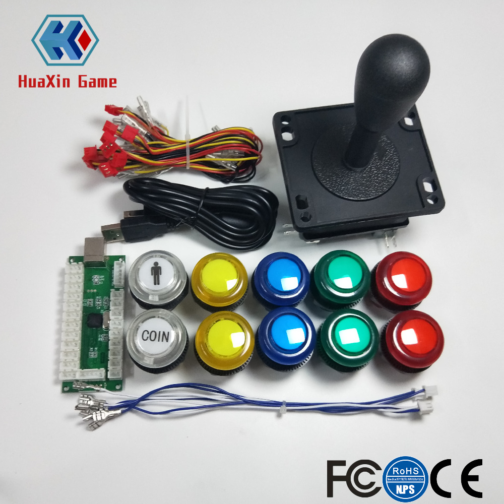цена на Arcade Games Cabinet Kit USB Encoder to PC Joystick Handle + 5V LED Lights Push Buttons for Arcade PC Game &Mame & Raspberry Pi