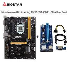 BIOSTAR 6PCIE TB250-BTC 100% Original TB250 1151 DDR4 Motherboards +6Pcs Riser Card For BTC Miner Machine Bitcoin Mining I7 5700