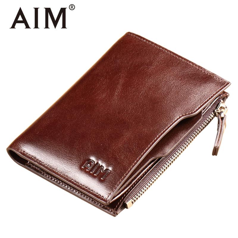 AIM Genuine Cow Leather Oil Wax Zipper Wallet for Men Vintage ID Card Organizer Coins Purse Luxury Men Wallets A297 genuine cow leather vintage men wallet fashion zipper