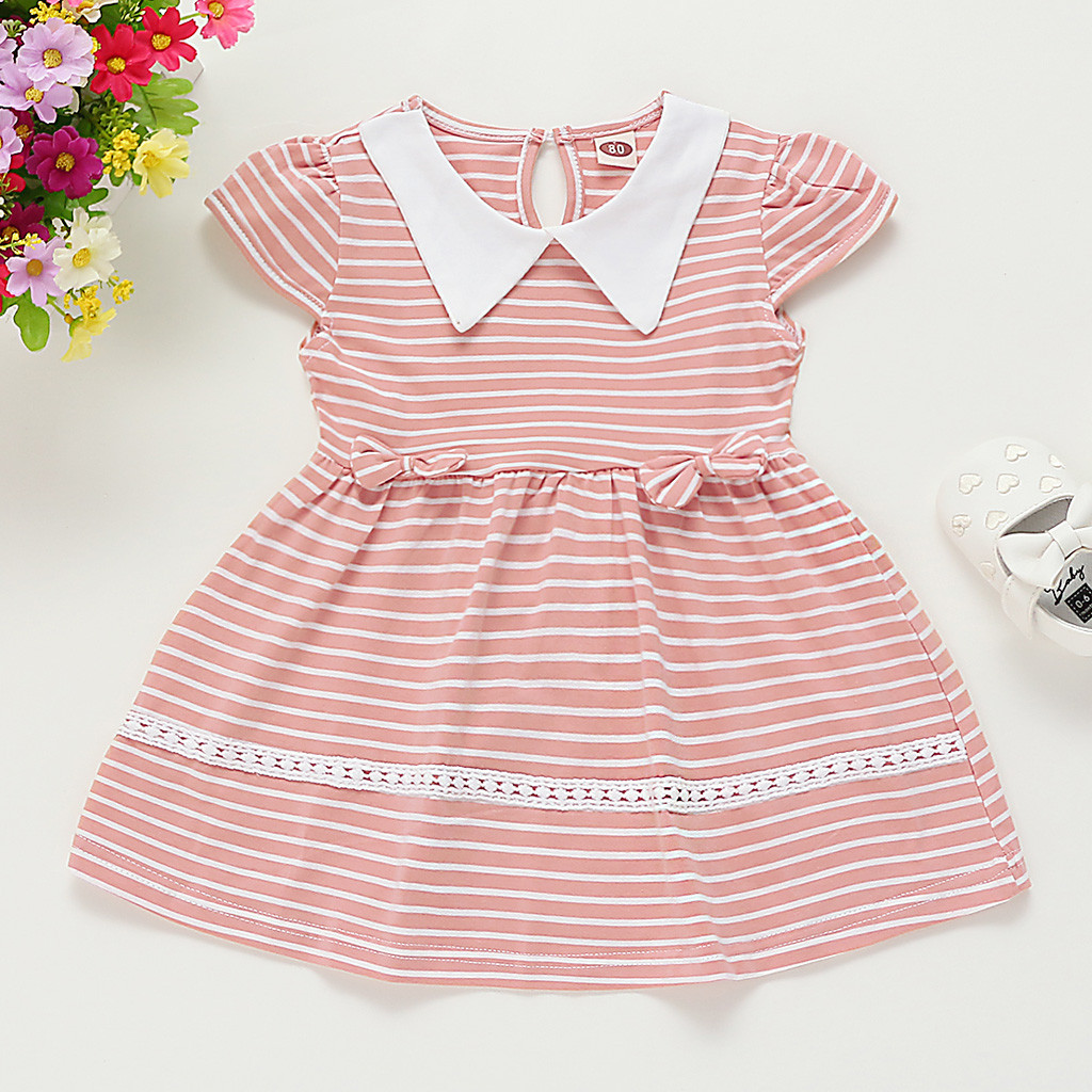 MUQGEW Baby Girl Clothes Toddler Kids Baby Girls Striped Bow Casual Princess Dress Sundress Summer Dropshipping Roupa Infantil
