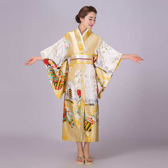 Lady Japanese Tradition Kimono Nightgown With Obi Vintage Long Satin Pajamas Casual Home Bathrobe Retro Cosplay Sleepwear 103103
