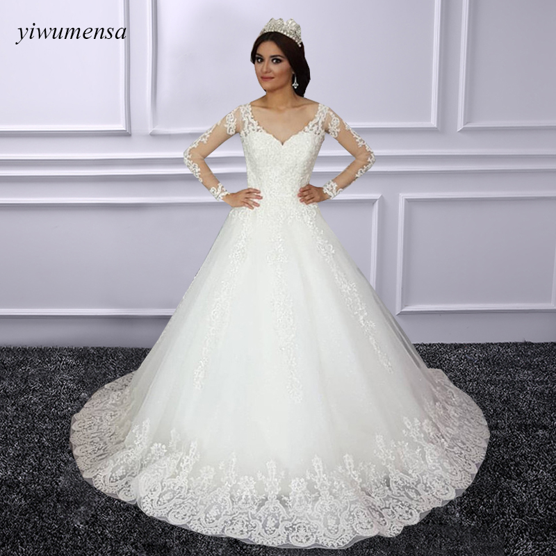 A line Mariage Wedding Dress Casamento V neck Court Train Pearls Beading Embroidery Lace wedding dresses robe de mariee 2018