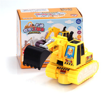 360 degree rotate electric excavator Children toys with flashing/ Kids boy's gifts music trumpet Truck tractors for battery toys