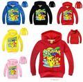 Outono primavera crianças meninas meninos camisola pokemon go crianças t-shirt meninas manga longa com capuz hoodies do revestimento do bebê moletom com capuz pikachu