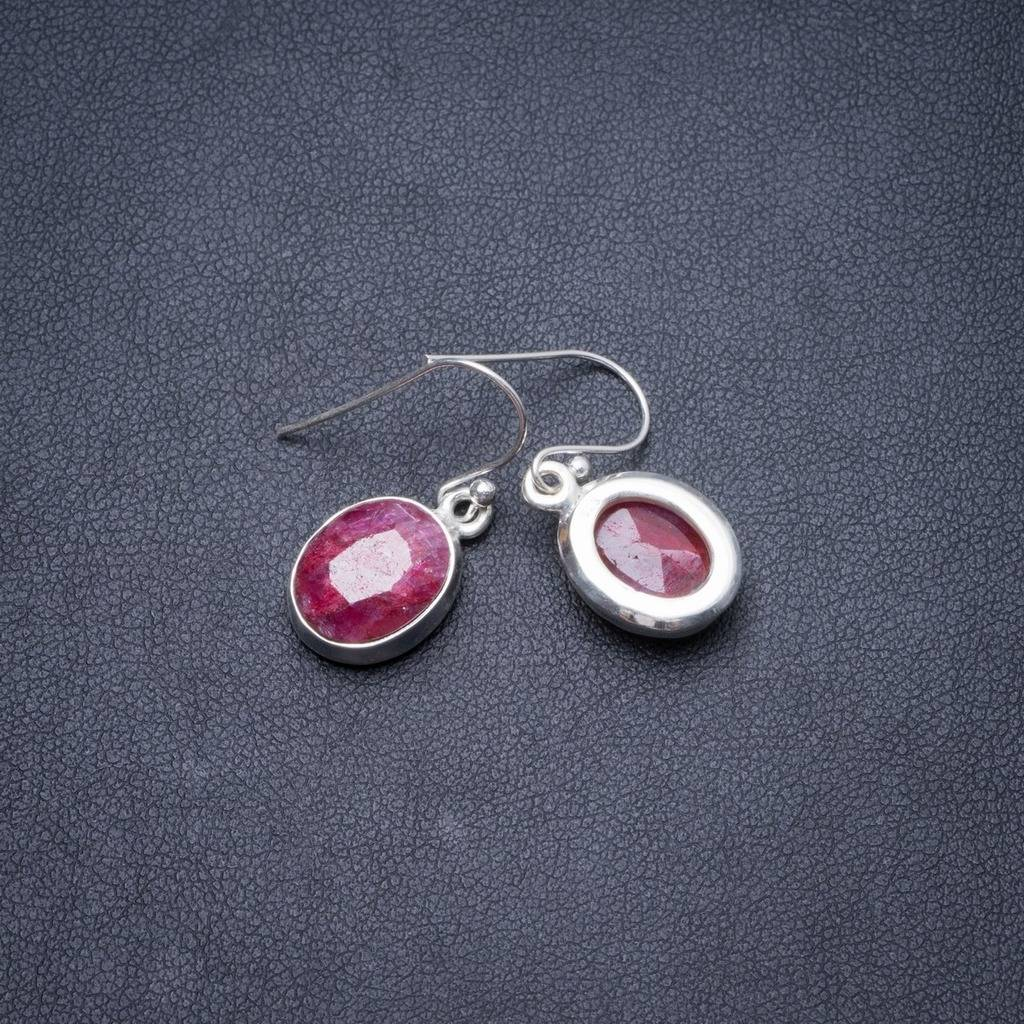 цена Natural Cherry Ruby Handmade Unique 925 Sterling Silver Earrings 1 1/4