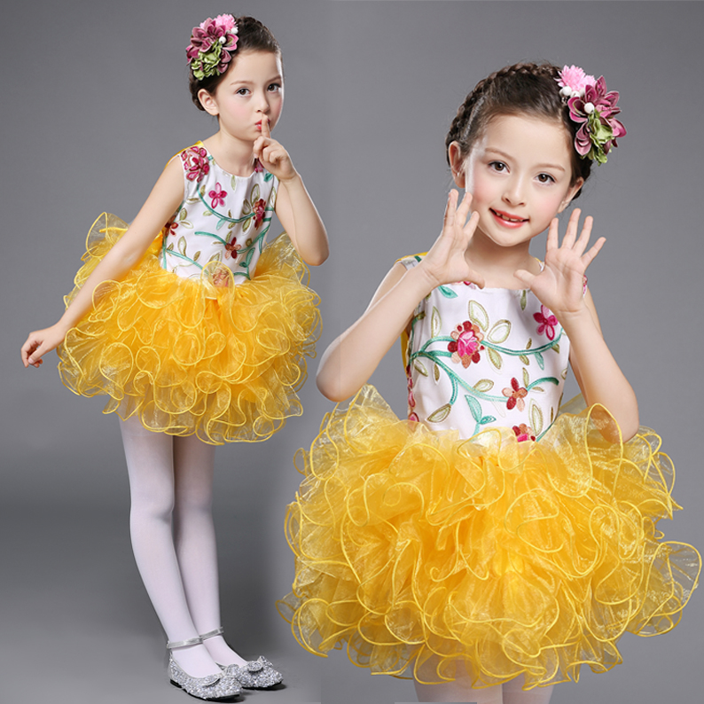 Cute Childrens Girls <font><b>Party</b></font> Clothes Sleeveless Square Back Girls <font><b>Party</b></font> Round Neck <font><b>Dress</b></font> Size 3 To <font><b>13</b></font> <font><b>Years</b></font> <font><b>Old</b></font> Ball Gown Kids image
