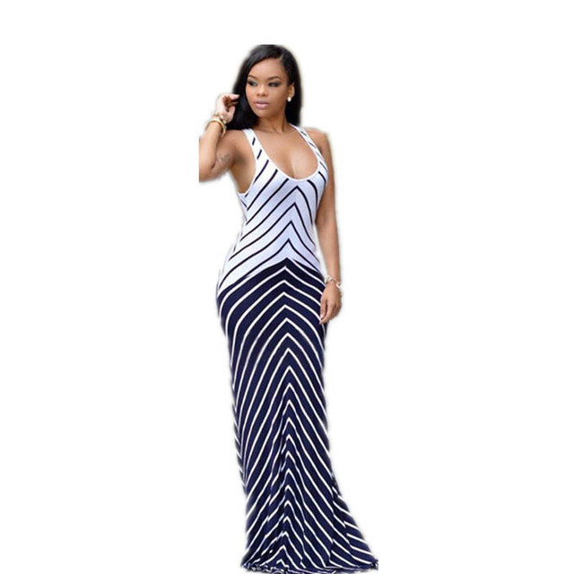 de13314629 Hot Sale Stock Woman Pretty Casual Summer Round Neck Long Maxi White Navy  Stripes Maxi Dress Party Wear Clothing L51275