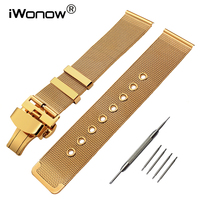 20mm 22mm Stainless Steel Watchband Tool For Citizen Seiko Casio Men Women Watch Band Butterfly Clasp
