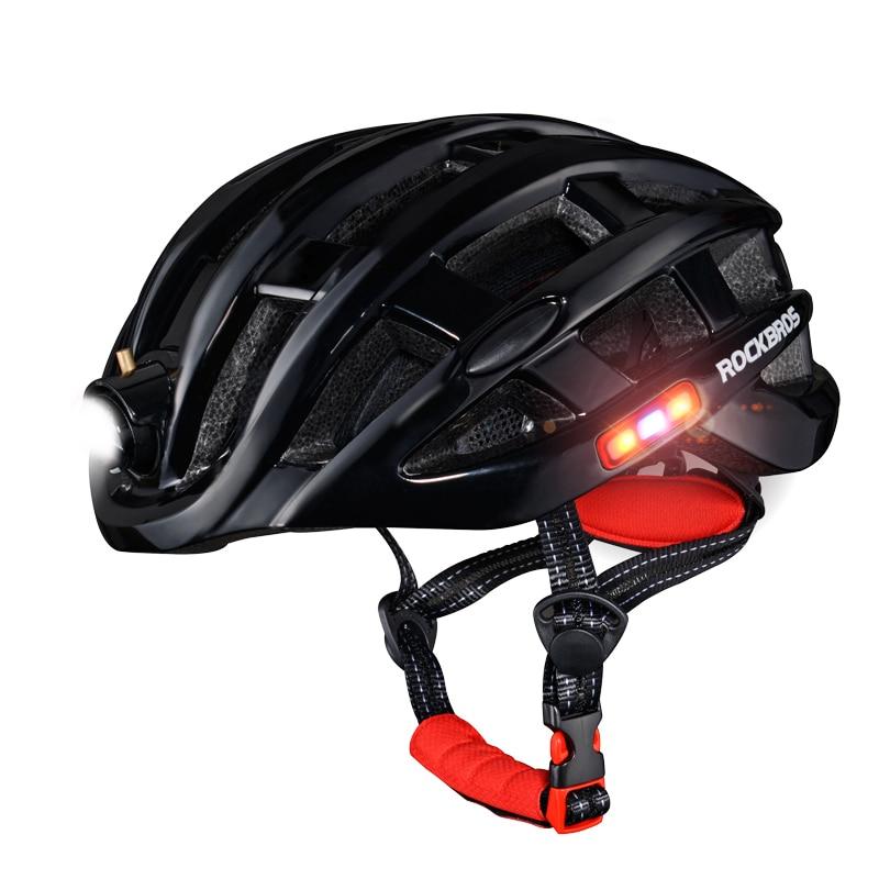 ROCKBROS USB Charge Flash Light Cycling Helmet Ultralight Bicycle Helmet Intergrally-molded Mountain Road Bicycle Helmet Safe ultralight red protone bicycle helmet