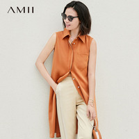 Amii Women Minimalist 2018 Summer Blouse Office Lady Chiffon Sleeveless Lapel Pocket Female Blouse Shirt